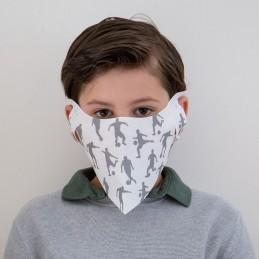 Kinder- Mund- und Nasenmaske / Kindermaske Hanprotec WBF-Kids (Einweg), Fußball schwarz