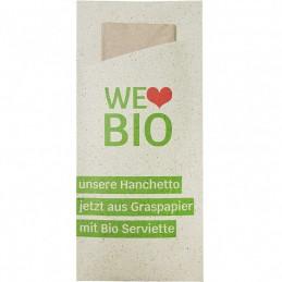 """Hanchetto aus Graspapier """"Individuell"""" Offsetdruck, für Serv. 33er, 2-lagig (90x197 mm, 1/12 Falz), mit Ihrem Werbedruck"""